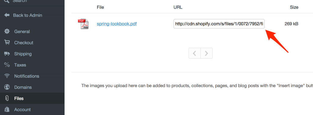 Upload your free content to Shopify Files