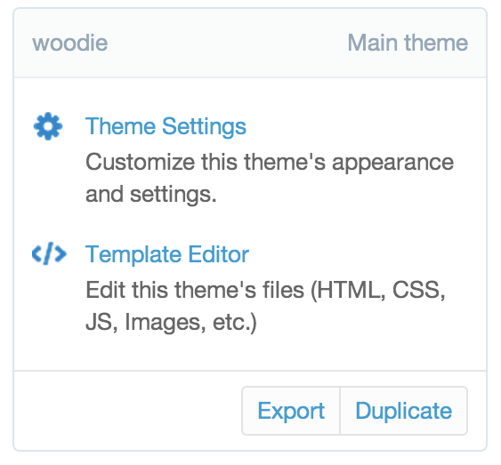 Theme settings in the Shopify admin