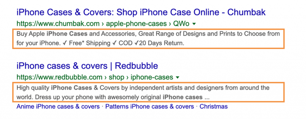 Example of what meta descriptions look in search results