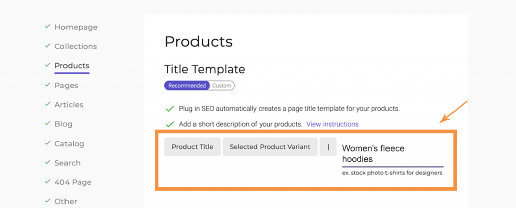 How to automate Shopify product page titles using Plug in SEO templates