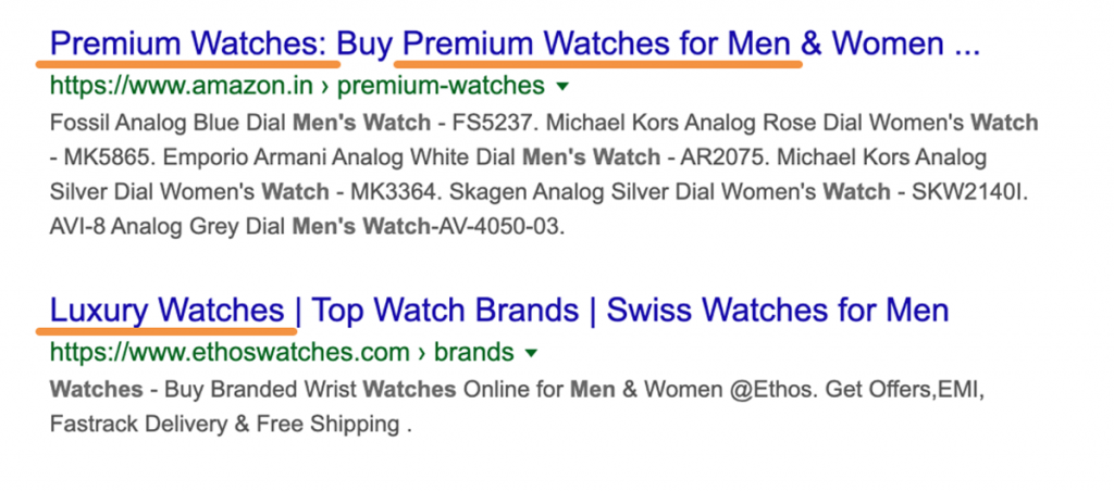 Example of how to include your main keyword in Shopify page titles for better SEO and search ranking
