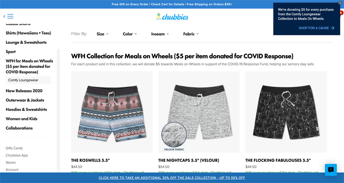 "Men's sports and loungewear online retailer, chubbies, is offering a ""work from home"" collection with a donation to meals on wheels in response to COVID-19."