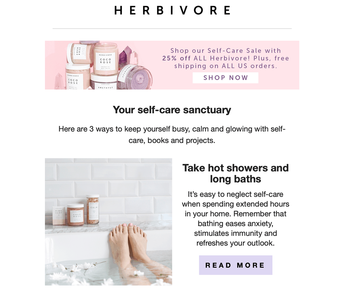 Online beauty brand, Herbivore Botanicals, is a great example of a brand shifting their marketing strategy to meet their customers' current needs during the coronavirus pandemic.