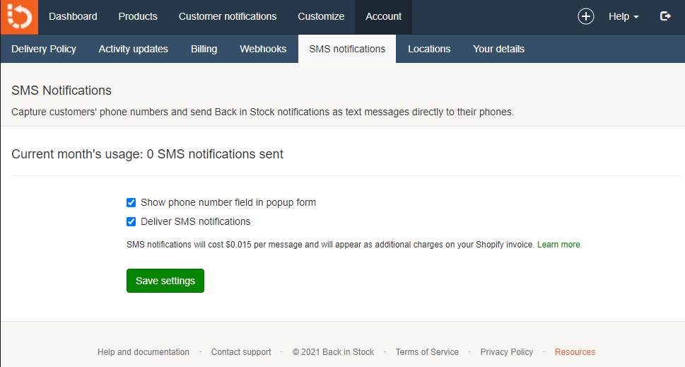Back in Stock SMS settings
