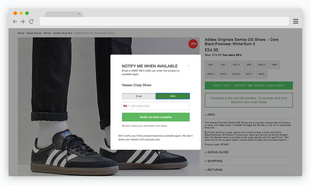 Back in Stock - SMS notifications for Shopify